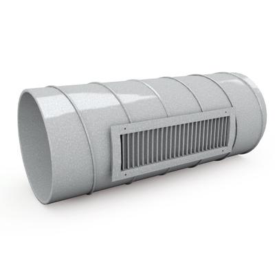 Kanalgitter GS120G für die Abluft durch ein Rundrohr / Kanal