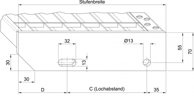 rotecEPGitterroststufe, feuerverzinkt 1200 x 305 mm, Ma  ~ Waschbecken Lochabstand Norm