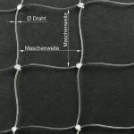 Perlondrahtnetz transparent, Masche: 50 × 50 mm, Ø Draht: 0,6 mm, mit Zuschnitt (1 Stk. = 1 m²)